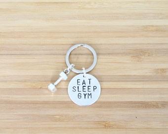 hand stamped keychain   eat sleep gym