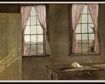 "Her Room from Andrew Wyeth, Andrew Wyeth print, American Artist, Wyeth Art, Wyeth Art, New England Painting, approx 13"" X 17"" tall."
