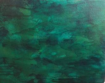Emerald Isle - Abstract Wall Art Painting on canvas panel