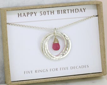 50th birthday gift, September birthstone necklace 50th, pink sapphire necklace for 50th birthday, gift for wife, mom, sister - Lilia