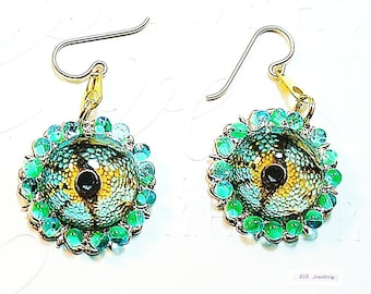 Reptile Eyes Earrings, Sci Fi  Earrings, Lizard Eyes Cosplay Jewelry, Fantasy Earrings,  - E2017-05