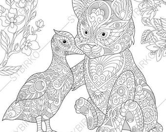 Kitten And Duck 2 Coloring Pages For Friendship Day Greeting Cards Animal Book