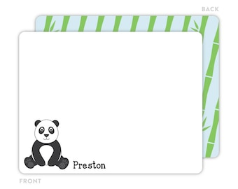 Panda Note Cards - Personalized Flat Note Card - Panda Notecards - Children Stationery - Panda Stationery - Kids Thank You Cards