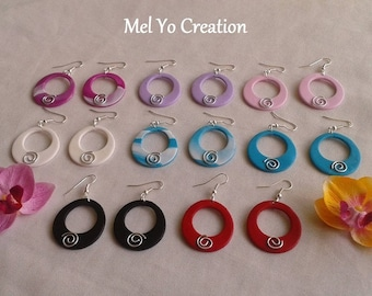 Spiral hoop earrings and polymer clay spring/summer