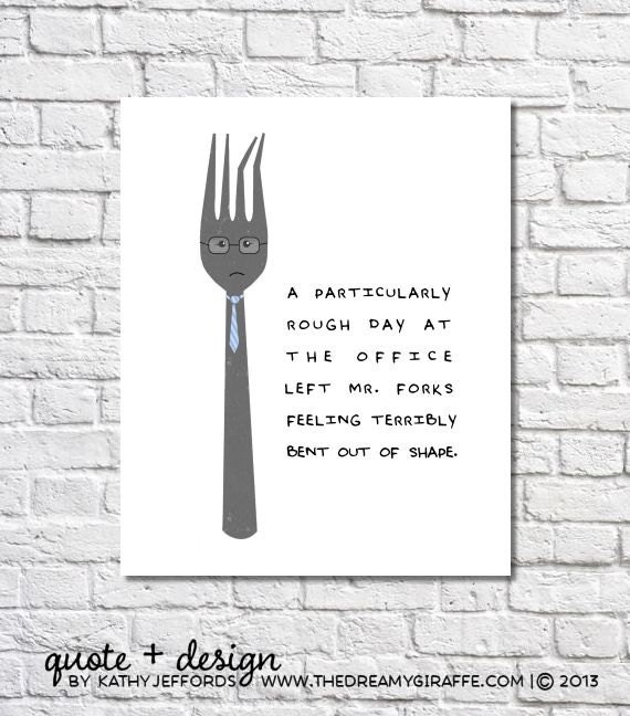 Items similar to funny kitchen print fork art quirky for Quirky kitchen items