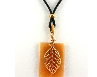 Chain carnelian caramel and rose gold leaf boho style