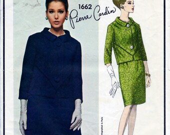 Vintage 1960s Vogue Paris Original PIERRE CARDIN 2-Pc Dress Suit Skirt And Jacket Sewing Pattern Size 12 Bust 32