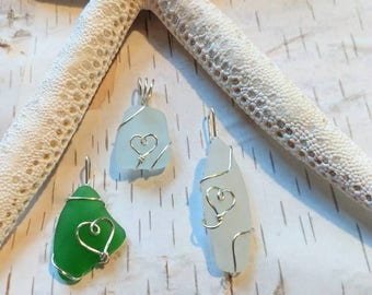 Mother's day SPECIAL heart pendant heart necklace sea glass heart, Handmade Okinawan sea glass pendant sterling silver