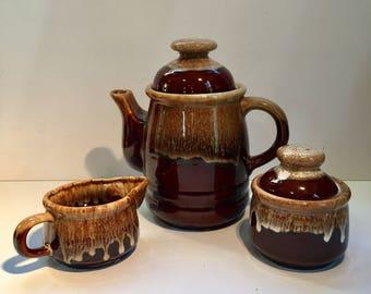 Vintage Asian Glazed Brown Pottery Tea Set