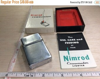 10%OFF3DAYSALE Vintage Old Damaged Nimrod Lighter With Commander Box Instructions Used