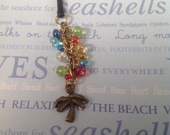 Palm Tree charm, cell phone charm, cell phone dust plug, headphone jack charm, dust plug, iphone charm, beach, palm tree phone charm