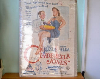 Vintage Movie poster 1946 Cinderella Jones Warner Brothers Original