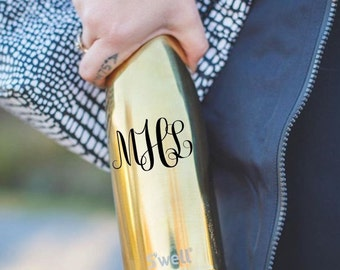 FREE SHIPPING and 46 Colors - Monogram Initials or Name Vinyl Decal for Swell Bottle
