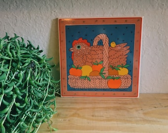 Vintage Chicken in Basket 1982 Taylor Ng Decorative Tile