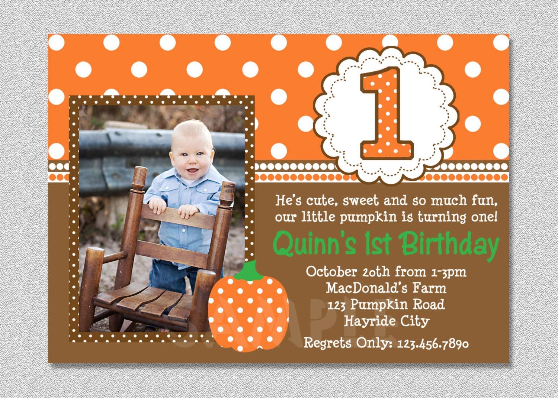 Fall pumpkin birthday invitation pumpkin 1st birthday party zoom filmwisefo Image collections