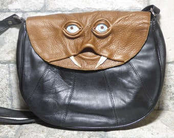 Cross Body Adjustable Purse With Face Monster Black Leather Harry Potter Labyrinth Unique Gift 449