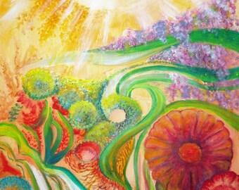 "ACRYLIC painting ""The fantasy Garden""."