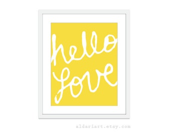 Hello Love Typography Digital Print -Yellow Art Home Decor - Poster