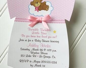 Baby Shower Onesie Invitation / Twinkle Twinkle Little Star / Baby Girl /  Set of 10