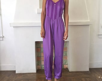 VTG Delicate Lingerie Style Lace and Ruffle Trim Ruffle Hem Jumpsuit Onsie Bodysuit