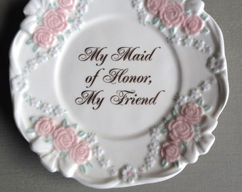 Maid Of Honor Plate Papel Giftware Pink Roses Vintage Gift - #