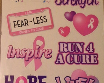Forever in Time Breast Cancer Awareness Scrapbook stickers