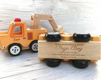 Personalised Fire engine and pick up truck  wooden push along vehicles - engraved - push along cars - page boy gift - wedding gift
