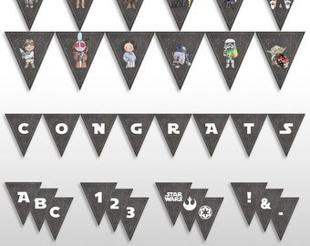 INSTANT DOWNLOAD Star Wars Baby Shower Pennant Banner, Decoration, Baby Shower Decor, PRINTABLE, Characters, Letter, Numbers, Symbols & Logo