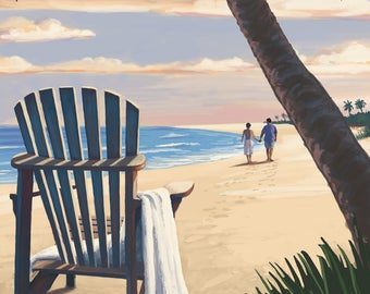 Hollywood, Florida - Adirondack Chair on the Beach - Lantern Press Artwork (Art Print - Multiple Sizes Available)