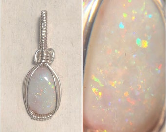 Sterling Silver Wire Wrapped Australian Opal Pendant, Opal Wire Wrap Pendant, Wire Wrapped Opal, Heady Wire Wrap, Heady Opal Pendant