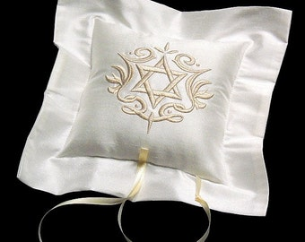 Ring bearer pillow Silk Star of David Jewish wedding ring pillow Ring cushion jfyBride Style 4209