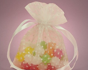 TAX SEASON Stock up 10 Pack Sheer Organza Drawstring Bags  2.75 X 4 Inch Size Great For Gifts polka dot style