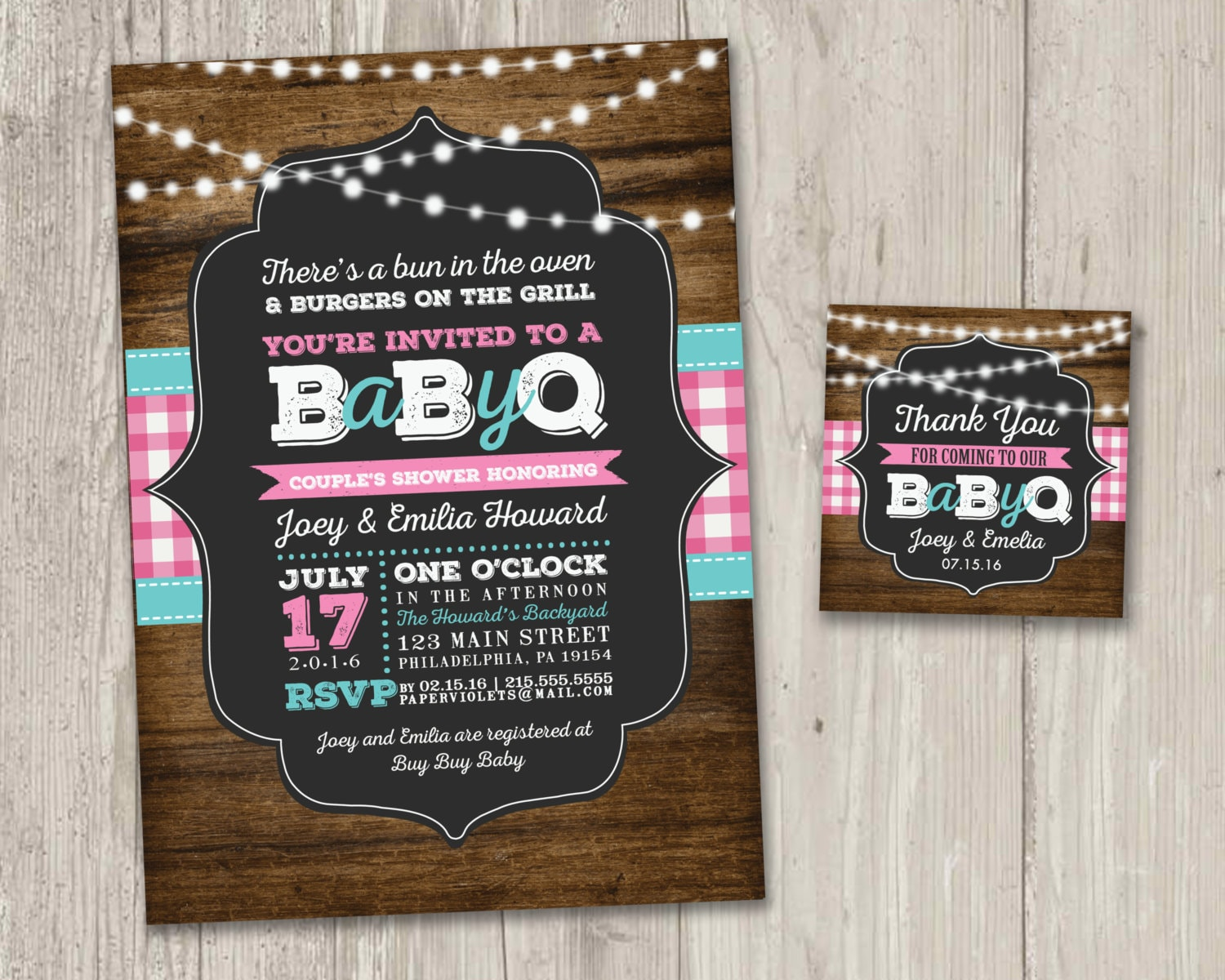 Chic Baby Q Shower Invitations design holiday cards online
