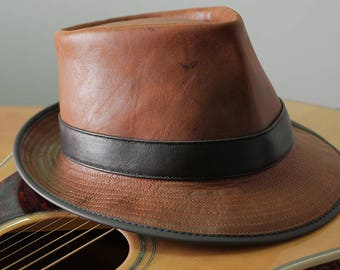 Tan kangaroo Leather Godfather Style Gangster Muso Band leader Hat / Fedora Hat