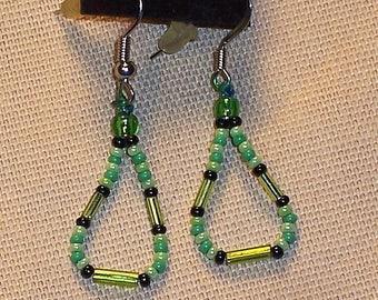 Native American Beaded Green Teardrop Earrings