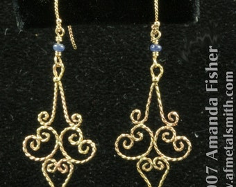 Handmade Gold Filigree Arabesque Earrings with Natural Sapphires