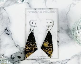 Jet Black Enamelled Geo Dangle Earrings with Gold Flecks