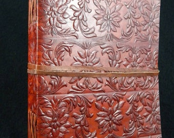Large Handmade Leather Journal Diary - Hand-Tooled TUDOR Design