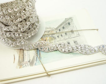 18mm Silver Rhinestone Floral Trim Applique in Clear Crystal for Wedding Trims, Accessories, Jewelry, Costume 1 Feet Qty