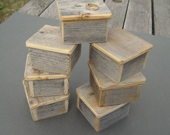Barnwood RING BOX handmade from reclaimed weathered wood - rustic refined