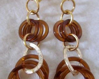 Upcycled Vintage Bakelite Amber Graduating Hoops GP*  Leverback Pierced Earrings
