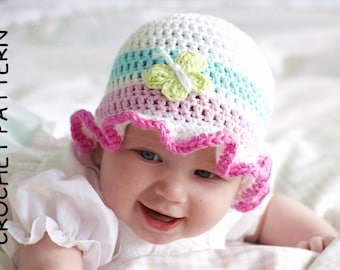 BABY HAT PATTERN by Kjd, Crochet Hat Pattern Cotton Baby Hat pattern Butterfly Hat Pattern frilly hat pattern Baby girl hat pdf pattern Uk