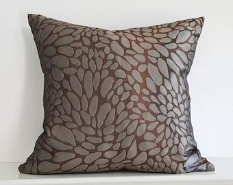 Copper Brown Pillow, Brown Blue Pillow, Throw Pillow Cover, Abstract Circles Pillow, Metallic Throw Pillow, Lumbar Cushion 12x18, 12x20