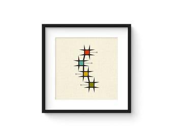MOVE - Square Version - Giclee Print - Mid Century Modern Danish Modern Minimalist Cubist Modernist Abstract Eames