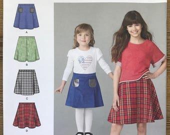 UNCUT Girls, Kids, Childs Skirt Sewing Pattern Simplicity 1290 Size 3-4-5-6