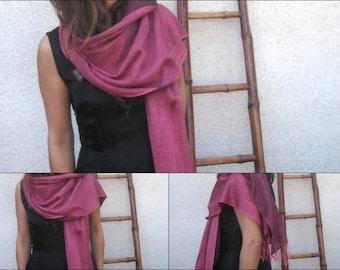 Raspberry Purple Silk and Wool Pashmina .Double SidedPashmina Stole. All Seasons Shawl Wrap.