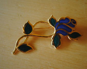 Blue Rose Enamel Brooch - Vintage