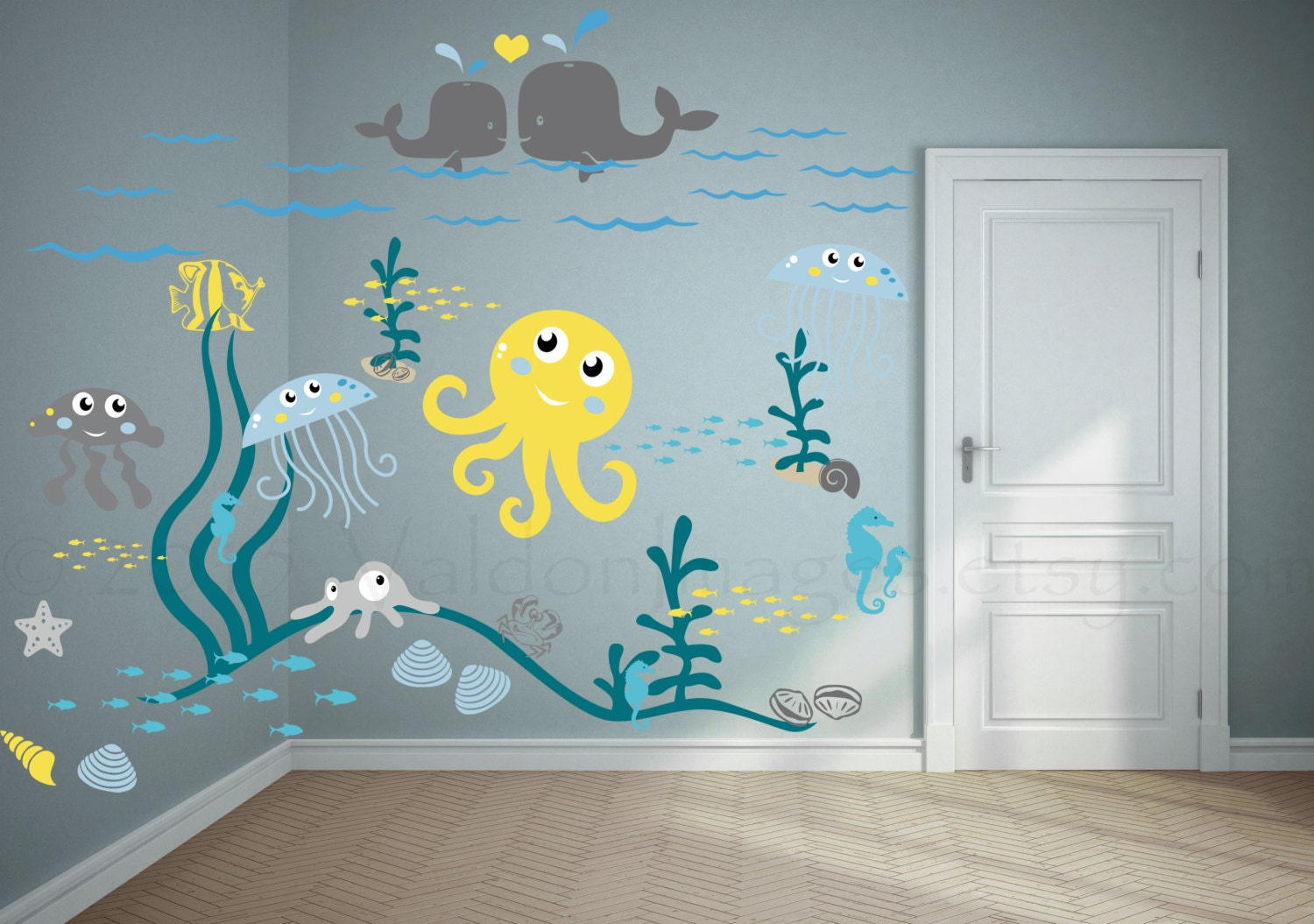 Nursery Wall Decor Jellyfish Adventure Wall Decal Nursery Wall Decal Kids