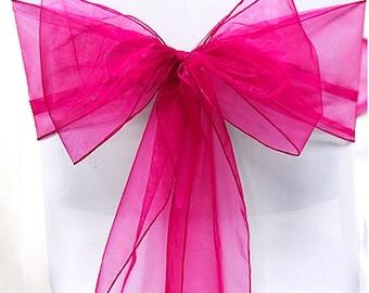 Hot Pink Organza Chair Sash Bow Wedding Venue Decoration