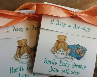 Baby Shower Tea Bag Favors Teddy bear tea party themed favors that are Sweet and Adorable 1st Birthday or Baby Sprinkle Boy or Girl